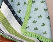 Last One Baby Quilt Sea Turtles Pale Blue and Green Crib Quilt