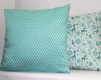 Decorative Nursery Pillow Cover 16 x 16 Woodland Tails Dots in Aqua Blue