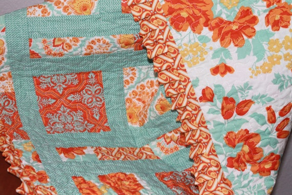 Baby Quilt Aqua and Amber with Ruffle Joel Dewberry Prints