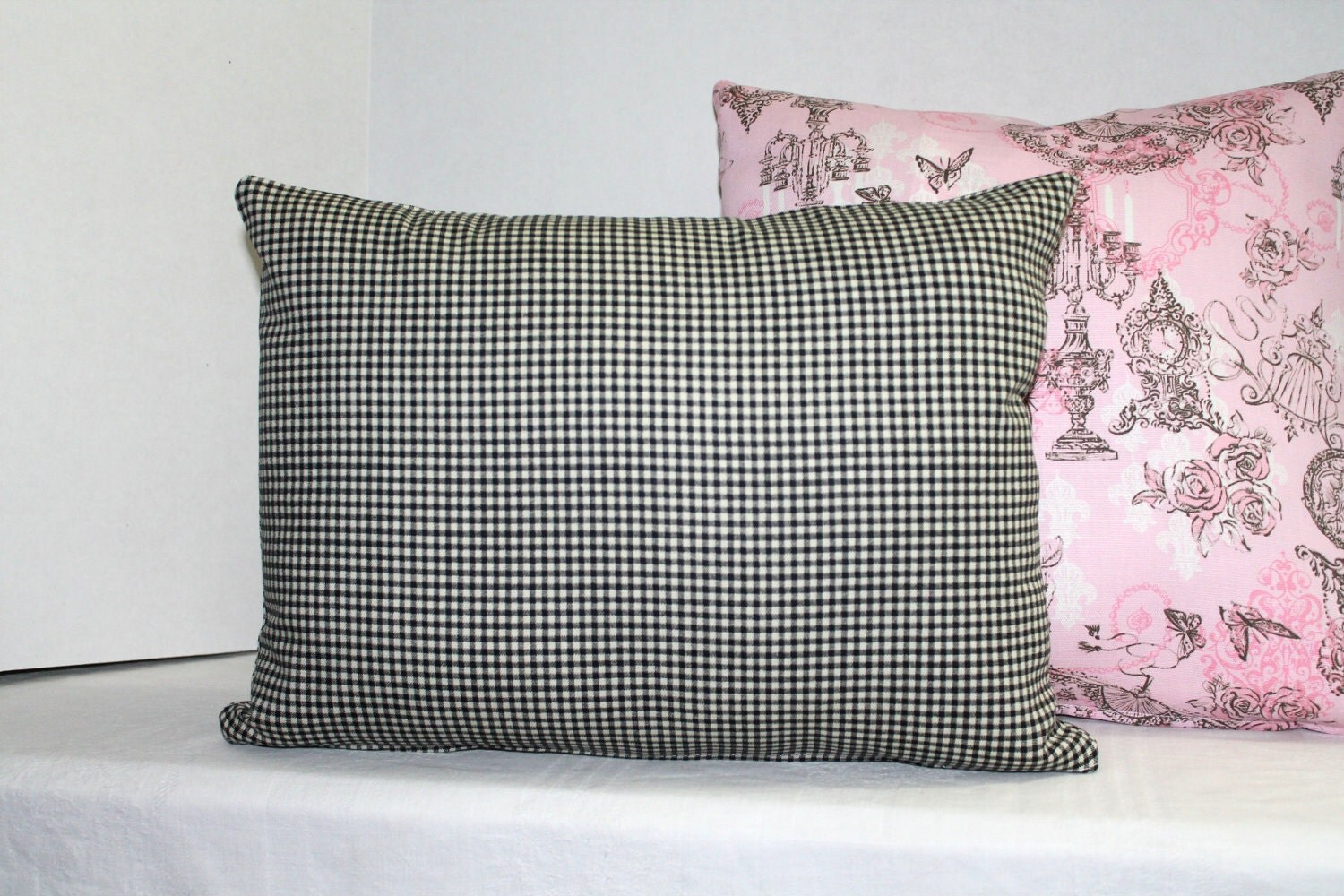 lumbar pillow cover black white gingham 16 x 12 nursery decor. Black Bedroom Furniture Sets. Home Design Ideas