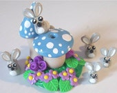 On Sale Bunny Rabbit Family and Mushroom Incense Burner FIMO and Sculpey