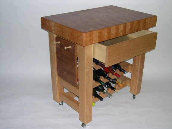 Items Similar To Cherry Butcher Block Island With Wine Rack On All Products Cellar