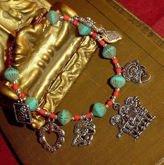 Charm bracelet Day of the Dead with happy skeletons in turquoise and red