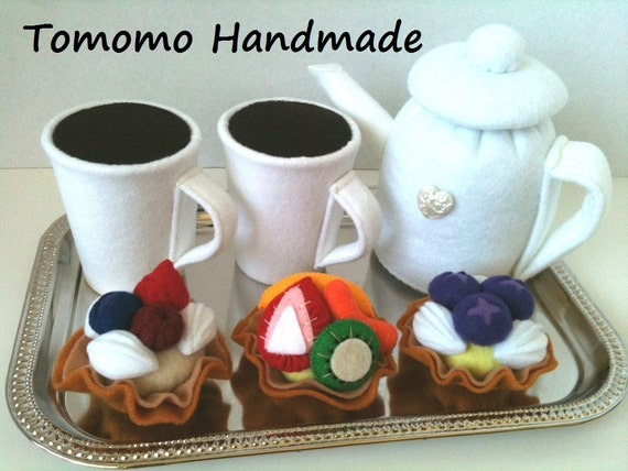 Etsy  Pretend food - Play food -  Felt food  Fabulous Tea  set C