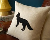 Hey There, Foxy 16x16 Upcycled Sweater Fox Silhouette Pillow cushion cover with feather insert