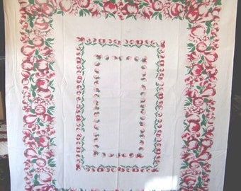 1950s Print Kitchen Table Cloth - Apples Pears & Berries