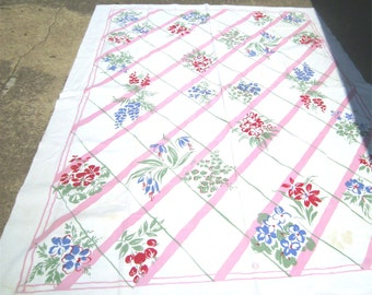 1950s Print Kitchen Table Cloth - SPRING FLOWER TRELLIS
