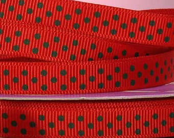 ON SALE  3/8 Inch Christmas Red W/ Green Dots