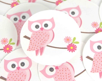 Stickers Envelope Seals Pink Owls SES117