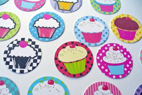 Stickers Seals Envelopes Cupcake - set of 30