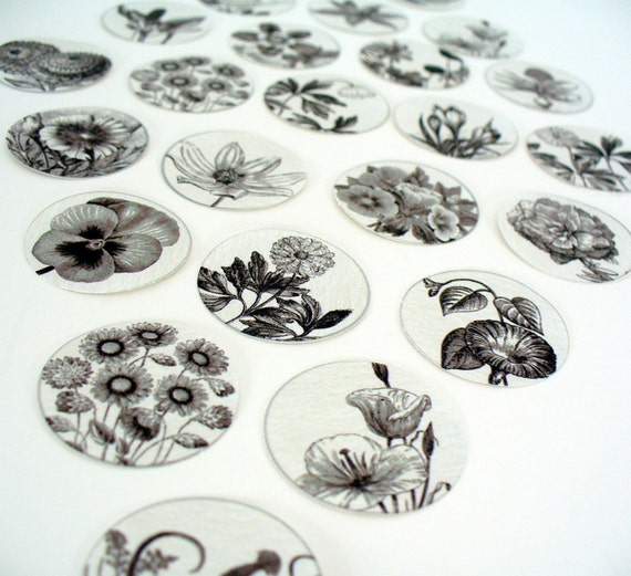 Stickers Envelope Seals Flowers Black and White Drawings SES10