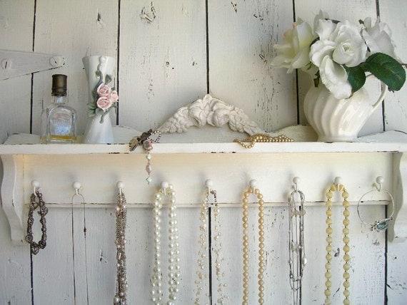 Chic Cottage White..Vintage Wood Shelf..Jewelry Hooks