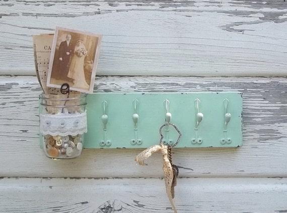 Chic Mint Green..Jar Vase...Jewelry or Key Hooks