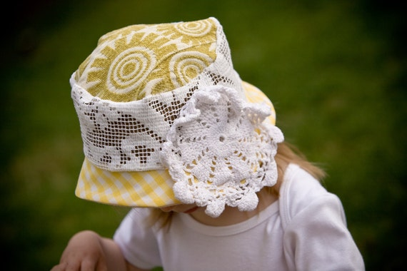 Hankie Babies vintage fabric and doily bucket hat -- Annabelle style