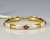 RESERVED - Vintage Cherry Blossom Cloisonne Bangle - 1861