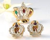 Mazer Crown Pin Earrings -  Vintage Brooch Gold Rhinestone - Signed Designer - Ruby Red Emerald Green Amethyst Purple - Princess Set - 835