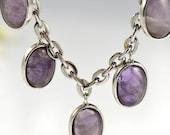 Amethyst  Bracelet Silver Purple Charm Oval Stone Gem Natural February Birthstone Vintage - 2121