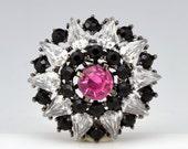 Black Rhinestone Pin Pink Brooch Round Cirlce Victorian Vintage - 2157