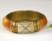 Bone Brass Bangle Bracelet Inlay Brown Amber Ivory Boho Hippie Vintage - 2572