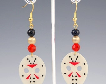 Friday the 13th Jason's Mask Halloween Guitar Pick Earrings WT121
