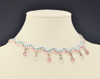 Crystal Necklace Pink Blue Choker Embroidered Zig Zag  Ric Rac Hippie Vintage  - W788