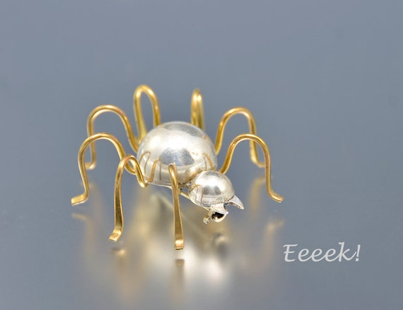 Silver Spider Pin Mexican Sterling Mexico Brass Insect Bug Handcrafted Vintage - 1573