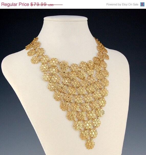 Vendome Gold Necklace Bib Filigree Flower Chainmaille Signed Designer Vintage - 1715
