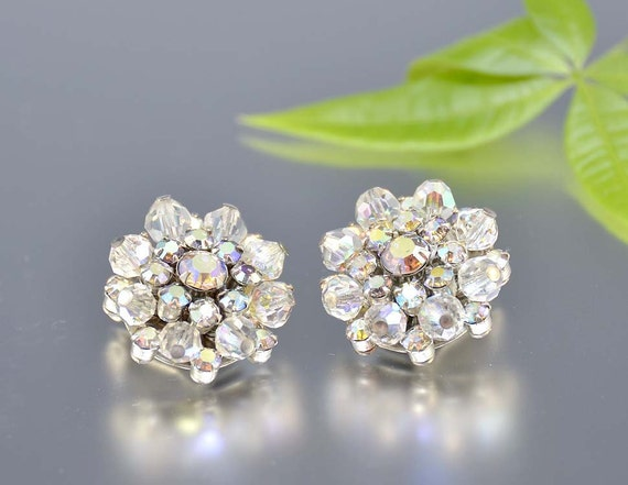 Crystal Rhinestone Earrings Button Clip-On Beaded Silver Snowflake Round Evening Glam Bridal Vintage - 2431