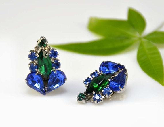 Rhinestone Earrings Blue Emerald Green Silver Cobalt Crystal Clip-On - Vintage - 2464