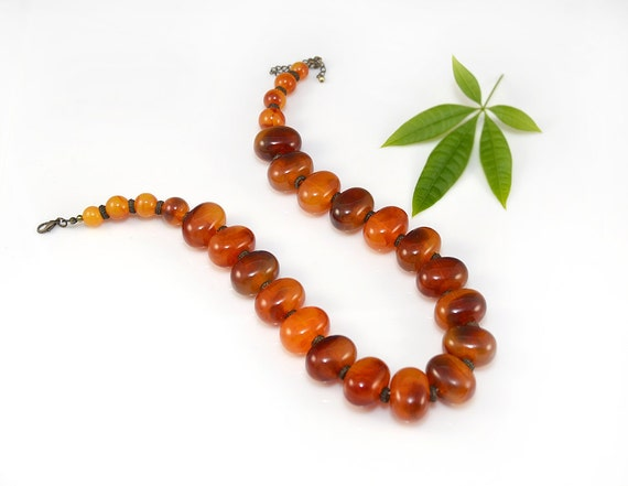 Amber Lucite Necklace Orange Brown Beaded Bronze Autumn Fall 60's Vintage - 2471