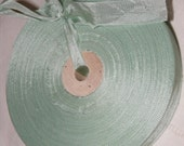 Vintage 1930's-40's French Woven Ribbon -Milliners Stock- 5/8 inch Mint Green
