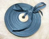 Vintage 1930's-40's French Woven Ribbon -Milliners Stock- 5/8 Inch Smoky Teal Blue
