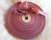 Vintage 1930's-40's French Woven Ribbon -Milliners Stock- 5/8 Inch Dried Rose