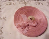 Vintage 1930's-40's French Woven Ribbon -Milliners Stock- 5/8 inch Antique Rose Pink