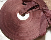 Vintage French 1930's-40's Woven Ribbon -Milliners Stock- 5/8 inch Sable Brown