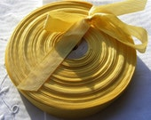 Vintage 1930's-40's French Woven Ribbon -Milliners Stock- 5/8 Inch Dark Golden Yellow
