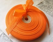 Vintage 1930's-40's French Woven Ribbon -Milliners Stock- 5/8 inch True Orange