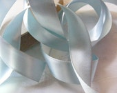 Vintage 1930's-40's French Double Face Satin -Milliners Stock- 3/4 inch Gorgeous Pale Blue