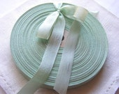 Vintage 1930's-40's French Woven Ribbon -Milliners Stock- 5/8 inch Pale Mint