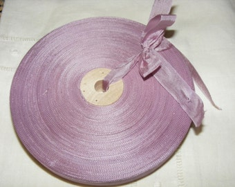Vintage French Woven Ribbon -Milliners Stock- 5/8 inch 1930's-40's Mauve Lilac