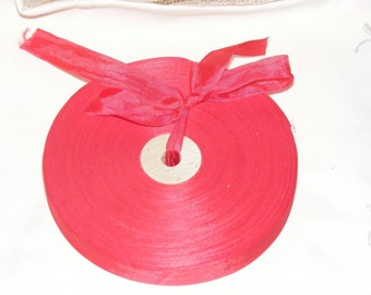 Vintage French 1930's-40's Woven Ribbon -Milliners Stock- 5/8 inch Holiday Red