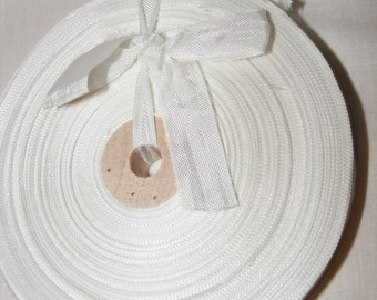 Vintage 1930's-40's French Woven Ribbon -Milliners Stock- 5/8 inch Snow White