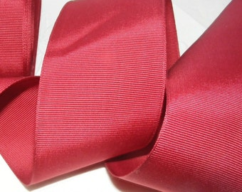 Vintage 1930's-1940's Grosgrain Ribbon -Milliners Stock- 1 1/2 inch Deep Blood Red