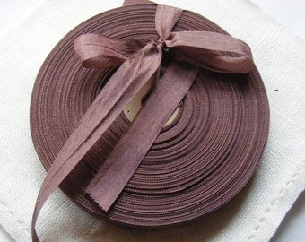 Vintage 1930's-40's French Woven Ribbon -Milliners Stock- 5/8 inch Mahogany Brown
