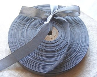 Vintage 1930's-40's French Woven Ribbon -Milliners Stock- 5/8 inch Battleship Grey