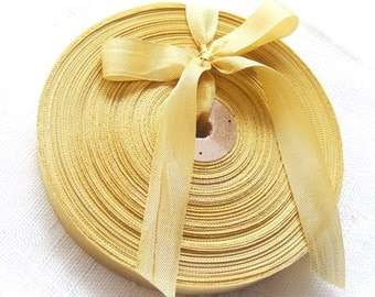 Vintage French 1930's-40's Woven Ribbon -Milliners Stock- 5/8 inch True Gold