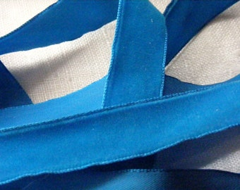 Antique 1950's Swiss Velvet Ribbon 7/8 Inch Gorgeous Venetian Blue