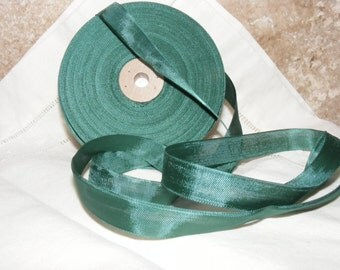 Vintage French Woven Ribbon -Milliners Stock- 5/8 inch 1930's-40's Jewel Green