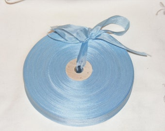 Vintage French 1930's-40's Woven Ribbon -Milliners Stock- 5/8 inch Sky Blue