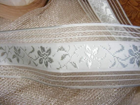 Vintage 1930's Swiss Silk Embroidered Organdy 1 1\/2 Inch Pale Sky Blue